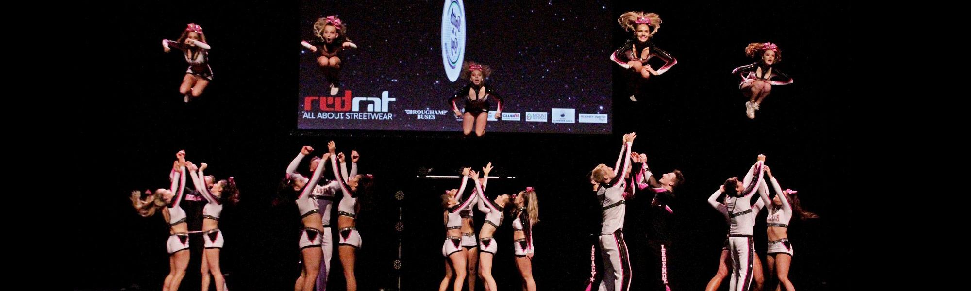 Cheerleaders in air